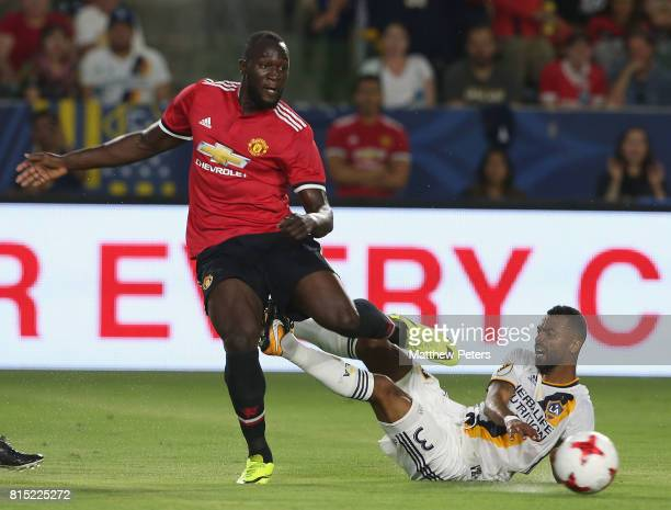 Romelu Lukaku of Manchester United in action with Ashley Cole of LA Galaxy during the preseason friendly match between LA Galaxy and Manchester...