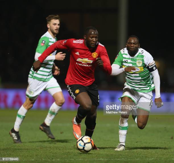 Romelu Lukaku of Manchester United in action with Bernard Zoko of Yeovil Town during the Emirates FA Cup Fourth Round match between Yeovil Town and...