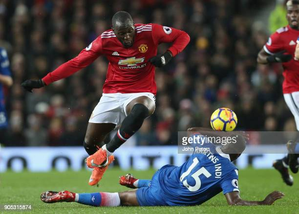 Romelu Lukaku of Manchester United in action with Bruno Martins Indi of Stoke City during the Premier League match between Manchester United and...