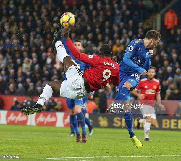 Romelu Lukaku of Manchester United in action with Christian Fuchs of Leicester City during the Premier League match between Leicester City and...