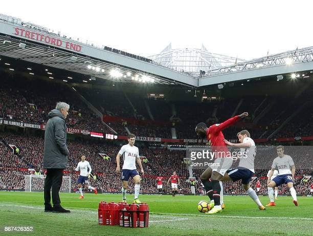 Romelu Lukaku of Manchester United in action with Jan Vertonghen of Tottenham Hotspur during the Premier League match between Manchester United and...