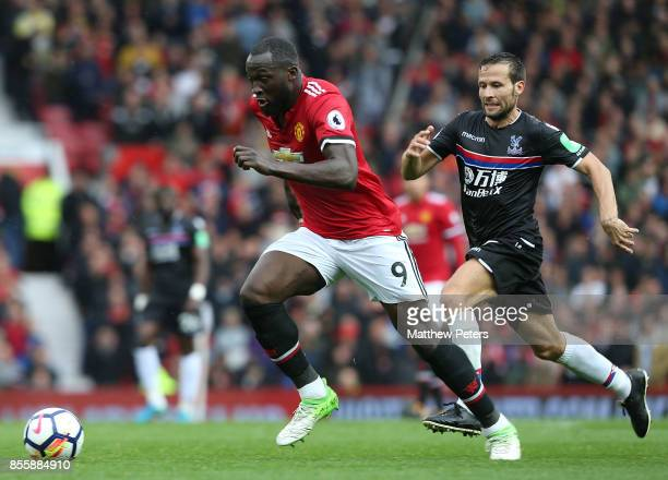 Romelu Lukaku of Manchester United in action with Yohan Cabaye of Crystal Palace during the Premier League match between Manchester United and...