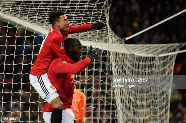 Romelu Lukaku of Manchester United is congratulated by Jesse Lingard of Manchester United after he scores the opening goal during the Emirates FA Cup...