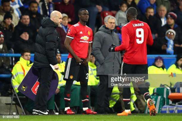 Romelu Lukaku of Manchester United is substituted off as Eric Bailly of Manchester United comes on during the The Emirates FA Cup Fifth Round between...