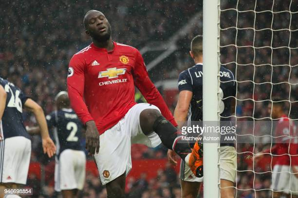 Romelu Lukaku of Manchester United kicks the post in frustration during the Premier League match between Manchester United and West Bromwich Albion...