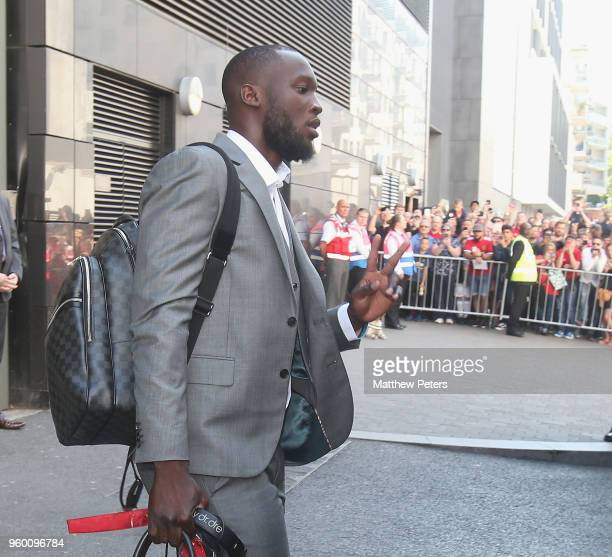 Romelu Lukaku of Manchester United leaves the team hotel ahead of the Emirates FA Cup Final match between Manchester United and Chelsea at Wembley...