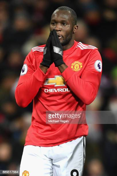 Romelu Lukaku of Manchester United look dejected during the Premier League match between Manchester United and Manchester City at Old Trafford on...