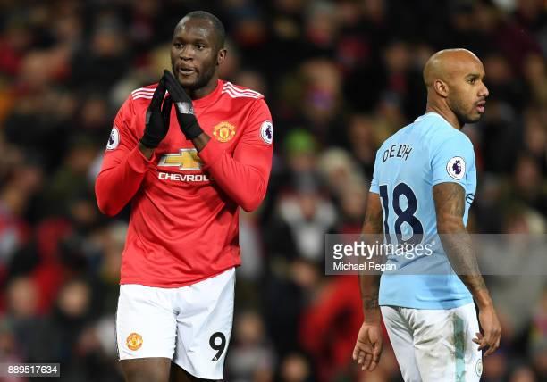 Romelu Lukaku of Manchester United look dejected during the Premier League match between Manchester United and Manchester City at Old Trafford on...