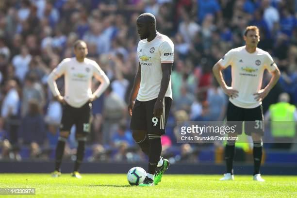 Romelu Lukaku of Manchester United looks dejected following Everton's second goal during the Premier League match between Everton FC and Manchester...