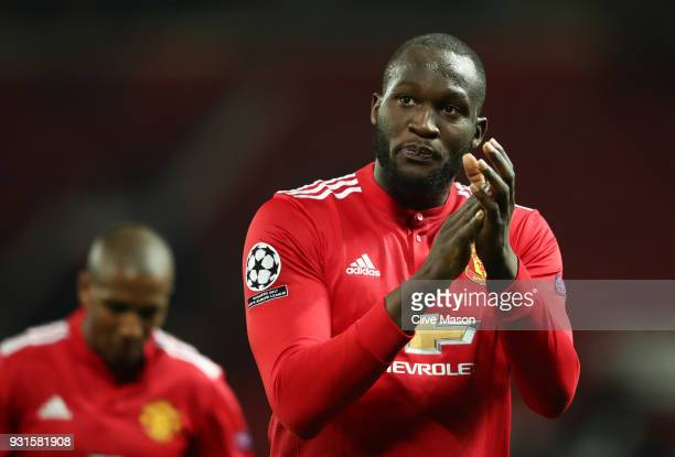 Romelu Lukaku of Manchester United looks dejected in defeat after the UEFA Champions League Round of 16 Second Leg match between Manchester United...