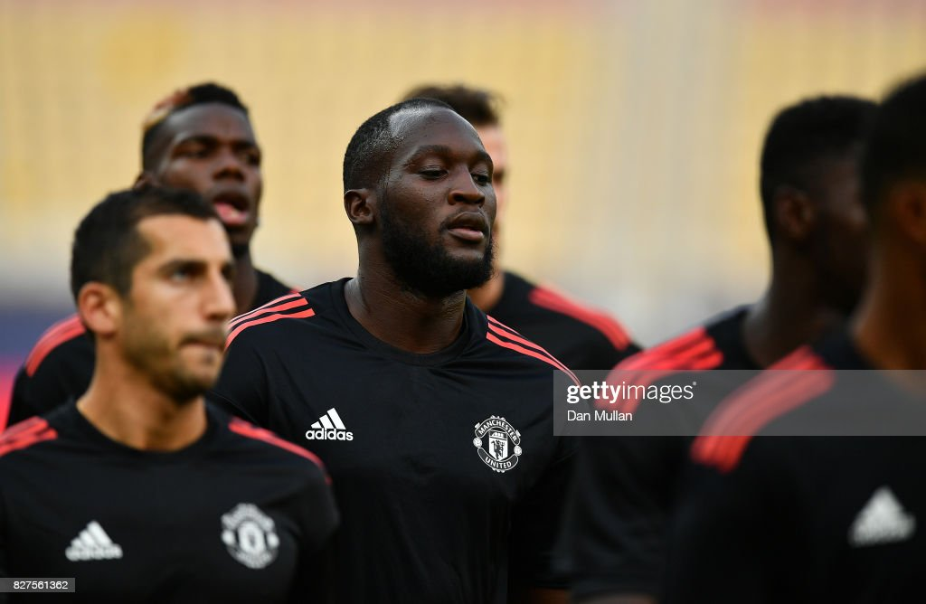 Romelu Lukaku of Manchester United looks on during a training session ahead of the UEFA Super Cup at the National Arena Filip II Macedonian on August 7, 2017 in Skopje, Macedonia.