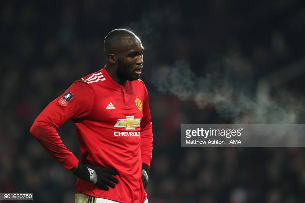 Romelu Lukaku of Manchester United looks on during the Emirates FA Cup Third Round match between Manchester United and Derby County at Old Trafford...