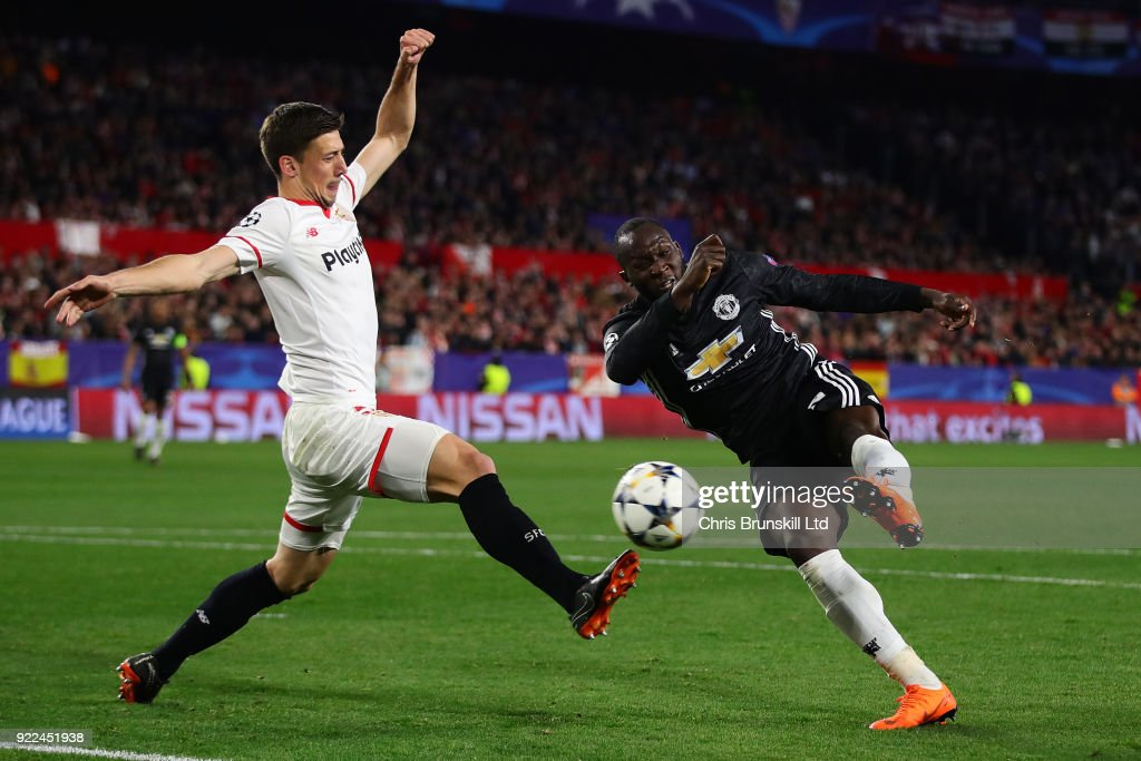 Romelu Lukaku of Manchester United puts the ball in the net but it is ruled out for handball during the UEFA Champions League Round of 16 First Leg match between Sevilla FC and Manchester United at Estadio Ramon Sanchez Pizjuan on February 21, 2018 in Seville, Spain.