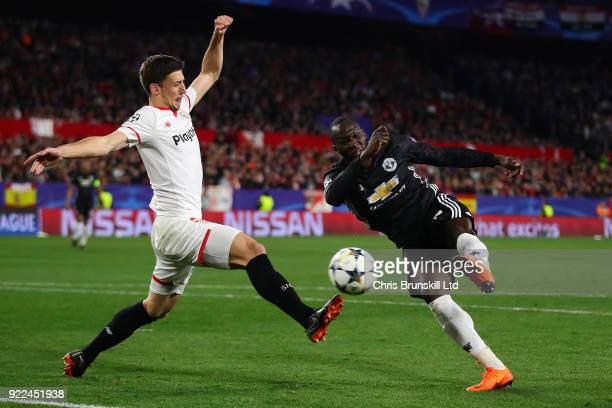 Romelu Lukaku of Manchester United puts the ball in the net but it is ruled out for handball during the UEFA Champions League Round of 16 First Leg...