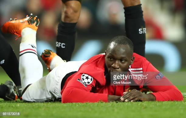 Romelu Lukaku of Manchester United reacts after a chance during the UEFA Champions League Round of 16 Second Leg match between Manchester United and...