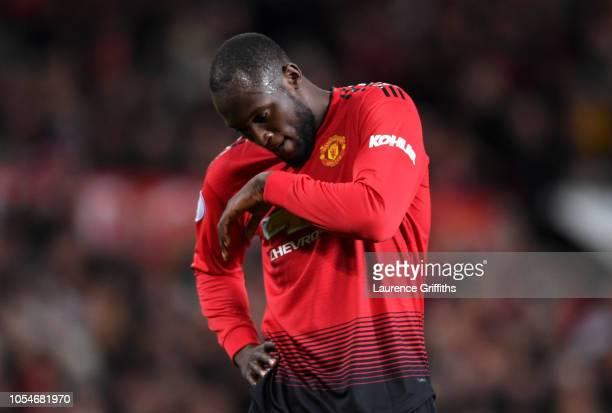 Romelu Lukaku of Manchester United reacts after a miss during the Premier League match between Manchester United and Everton FC at Old Trafford on...