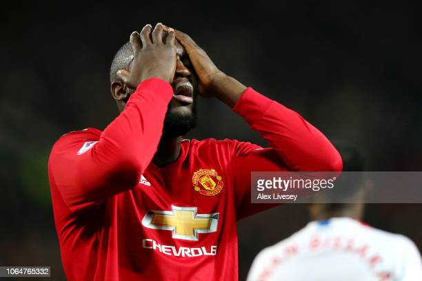 Romelu Lukaku of Manchester United reacts during the Premier League match between Manchester United and Crystal Palace at Old Trafford on November 24...