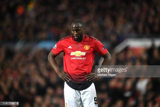 Romelu Lukaku of Manchester United reacts during the UEFA Champions League Quarter Final first leg match between Manchester United and FC Barcelona...