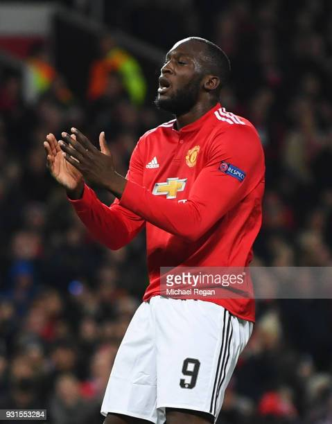 Romelu Lukaku of Manchester United reacts during the UEFA Champions League Round of 16 Second Leg match between Manchester United and Sevilla FC at...