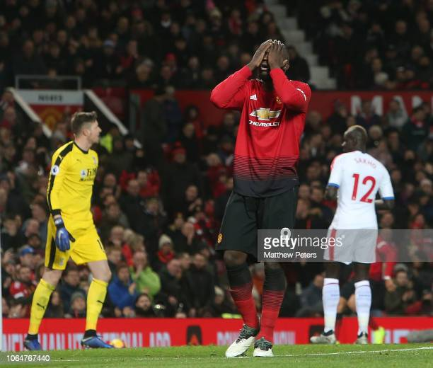 Romelu Lukaku of Manchester United reacts to a missed chance during the Premier League match between Manchester United and Crystal Palace at Old...