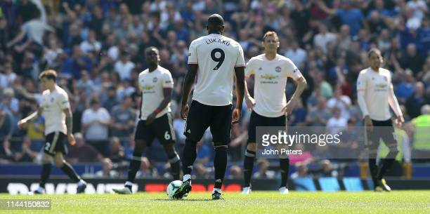 Romelu Lukaku of Manchester United reacts to conceding a goal to Gylfi Sigurdsson of Everton during the Premier League match between Everton FC and...