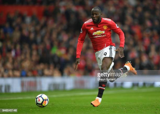 Romelu Lukaku of Manchester United runs with the ball during the Premier League match between Manchester United and West Bromwich Albion at Old...
