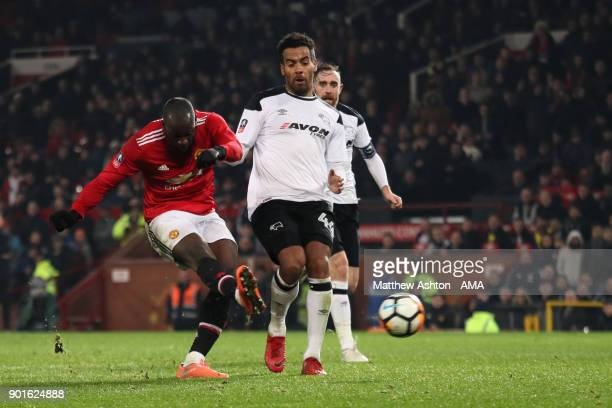 Romelu Lukaku of Manchester United scores a goal to make the score 20 during the Emirates FA Cup Third Round match between Manchester United and...