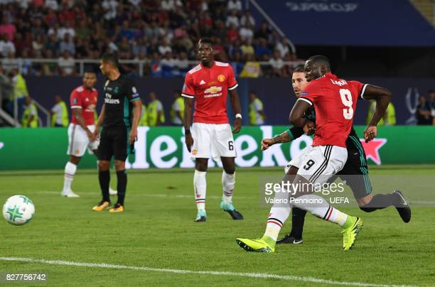 Romelu Lukaku of Manchester United scores his sides first goal during the UEFA Super Cup final between Real Madrid and Manchester United at the...