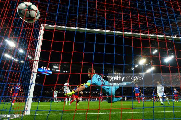Romelu Lukaku of Manchester United scores his sides first goal during the UEFA Champions League group A match between CSKA Moskva and Manchester...