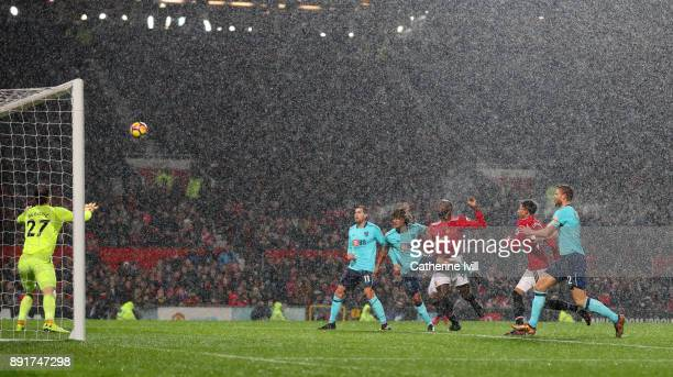 Romelu Lukaku of Manchester United scores his sides first goal during the Premier League match between Manchester United and AFC Bournemouth at Old...
