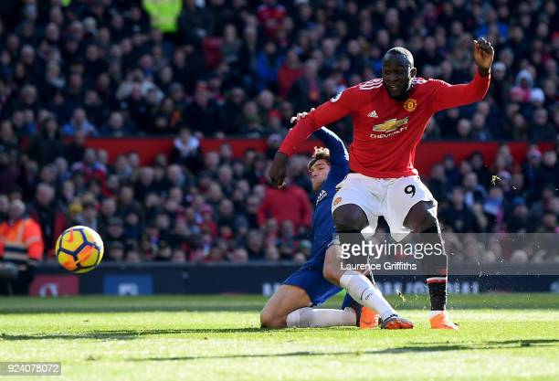 Romelu Lukaku of Manchester United scores his sides first goal during the Premier League match between Manchester United and Chelsea at Old Trafford...