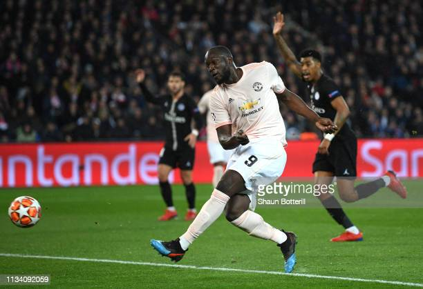 Romelu Lukaku of Manchester United scores his sides second goal during the UEFA Champions League Round of 16 Second Leg match between Paris...