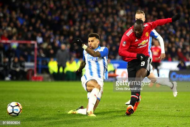 Romelu Lukaku of Manchester United scores his side's second goal during the Emirates FA Cup Fifth Round match between Huddersfield Town and...