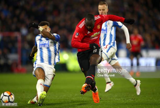Romelu Lukaku of Manchester United scores his side's second goal during the The Emirates FA Cup Fifth Round between Huddersfield Town v Manchester...