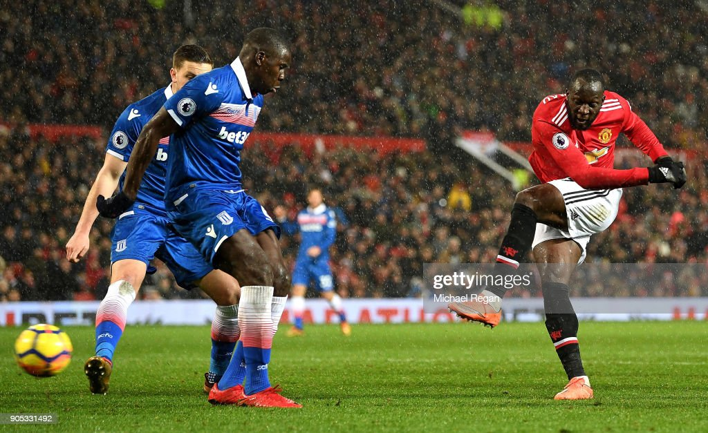 Romelu Lukaku of Manchester United scores his sides third goal during the Premier League match between Manchester United and Stoke City at Old Trafford on January 15, 2018 in Manchester, England.