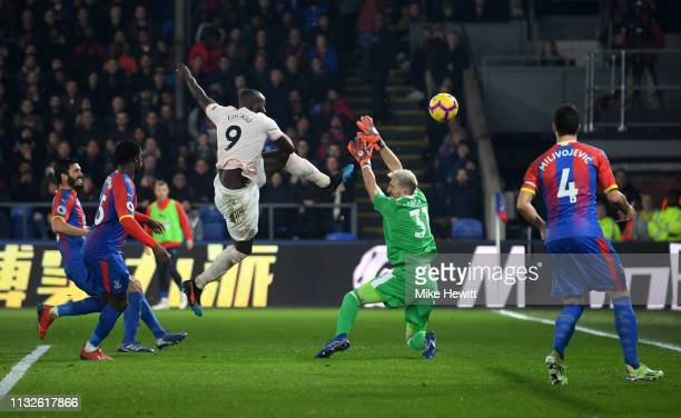 Romelu Lukaku of Manchester United scores his team's second goal past Vicente Guaita of Crystal Palace during the Premier League match between...