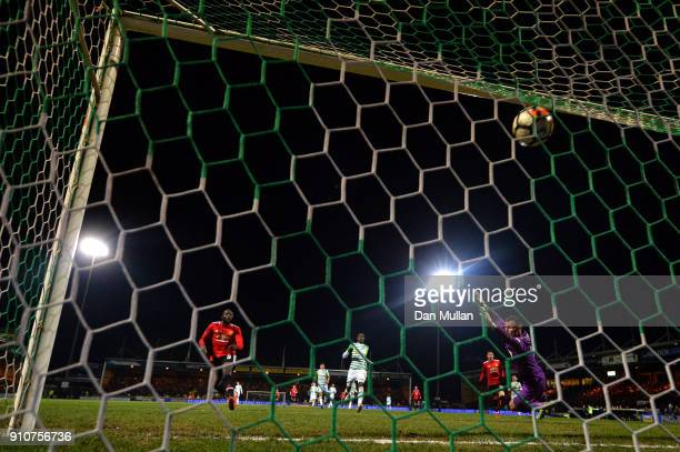 Romelu Lukaku of Manchester United scores the fourth Manchester United goal during The Emirates FA Cup Fourth Round match between Yeovil Town and...
