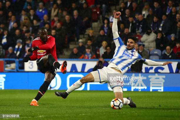 Romelu Lukaku of Manchester United scores the opening goal during the Emirates FA Cup Fifth Round match between Huddersfield Town and Manchester...