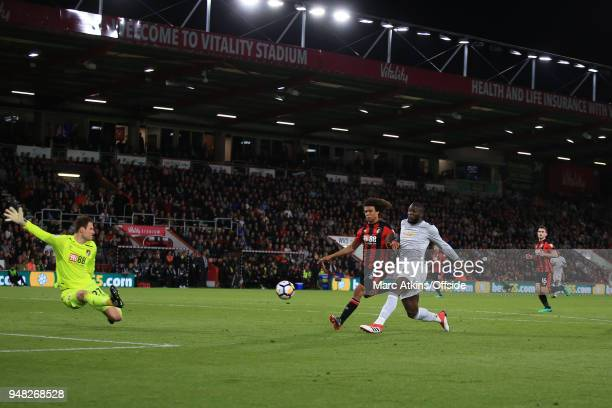 Romelu Lukaku of Manchester United scores their 2nd goal during the Premier League match between AFC Bournemouth and Manchester United at Vitality...