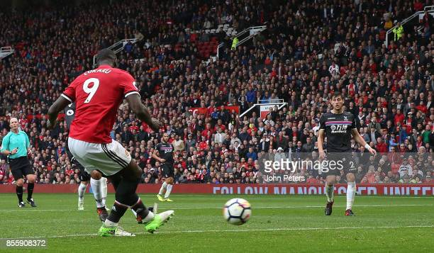 Romelu Lukaku of Manchester United scores their fourth goal during the Premier League match between Manchester United and Crystal Palace at Old...
