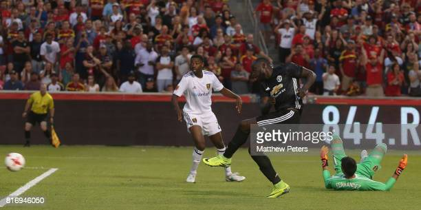 Romelu Lukaku of Manchester United scores their second goal during the preseason friendly match between Real Salt Lake and Manchester United at Rio...