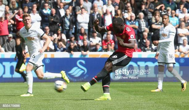 Romelu Lukaku of Manchester United scores their second goal during the Premier League match between Swansea City and Manchester United at Liberty...