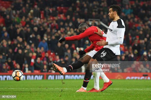 Romelu Lukaku of Manchester United scores their second goal during the Emirates FA Cup Third Round match between Manchester United and Derby County...