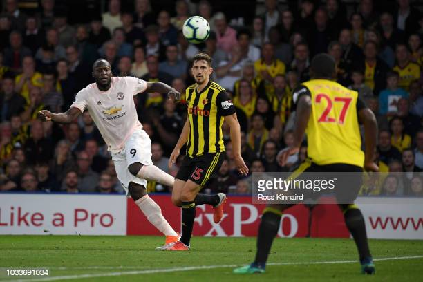 Romelu Lukaku of Manchester United shoots during the Premier League match between Watford FC and Manchester United at Vicarage Road on September 15...