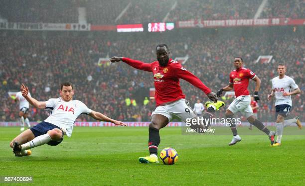 Romelu Lukaku of Manchester United shoots during the Premier League match between Manchester United and Tottenham Hotspur at Old Trafford on October...