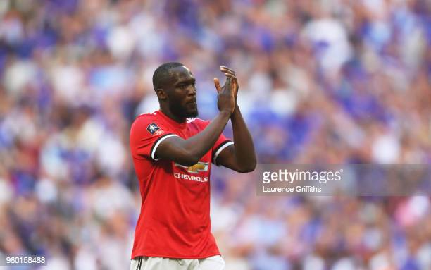 Romelu Lukaku of Manchester United shows appreciation to the fans following The Emirates FA Cup Final between Chelsea and Manchester United at...