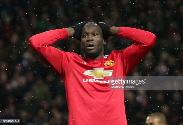 Romelu Lukaku of Manchester United shows his disappointment during the Premier League match between Manchester United and Manchester City at Old...