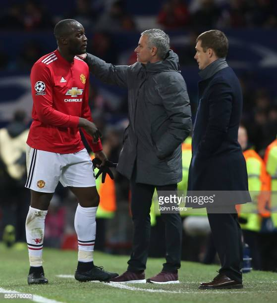 Romelu Lukaku of Manchester United speaks to Jose Mourinho after being substituted during the UEFA Champions League group A match between Manchester...