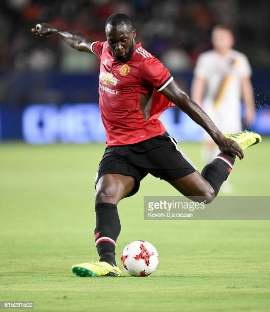 Romelu Lukaku of Manchester United takes a shot on goal against Los Angeles Galaxy during the second half of their exhibition soccer game at the...