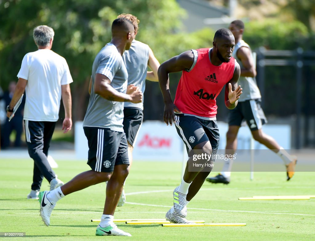 Romelu Lukaku of Manchester United trains for Tour 2017 at UCLA's Drake Stadium on July 10, 2017 in Los Angeles, California.